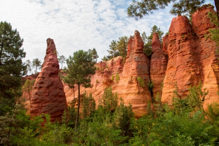 View of Roussillon s ocher colored rocks  Stock Photo
