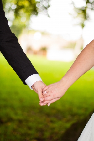 Newly married couple holding in hand Stock Photo