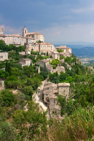 View of the historic hilltop village Gordes in Provence, France photo