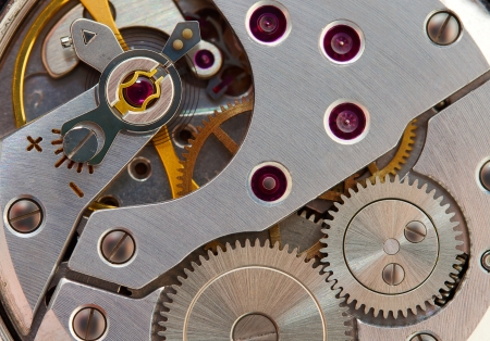 Closeup of old mechanical wrist watch caliber