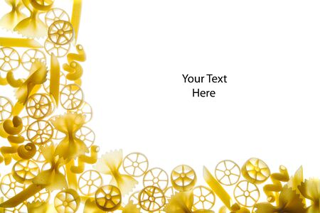 Frame of a mixture of pasta with space to add text