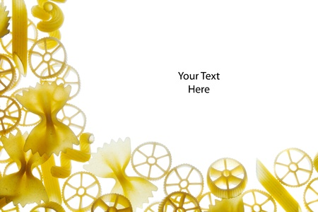 Mixture of raw pasta framing space to write own text Stock Photo