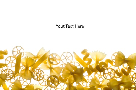 Section of various raw pasta with space to write text above