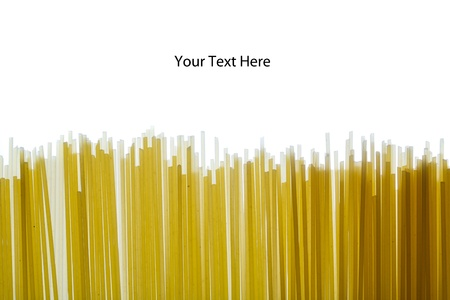 Line of raw spaghetti with space to write text above Stock Photo