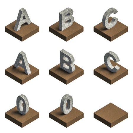 3d old steel text place on leather box, that can be align for your words photo
