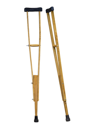 crutches: An image of crutch made from wood and leather Stock Photo