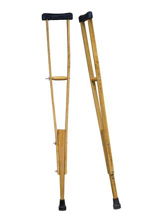 Une image de béquille en bois et cuir