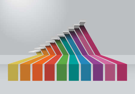 dimensions: The 3 dimensions color spectrum for business step chart Stock Photo