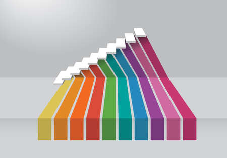 3 dimensions: The 3 dimensions color spectrum for business step chart Stock Photo