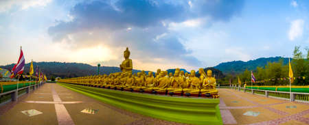 disciples: Panorama image of Buddha and disciples in the historical park, Thailand