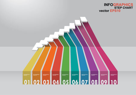 3 dimensions: The 3 dimensions stair have shadown for EPS 10 vector infographics Illustration