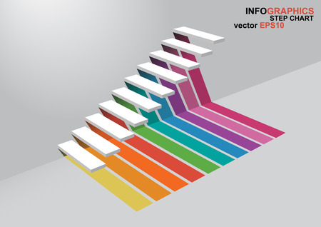 dimensions: The 3 dimensions stair have shadown for EPS 10 vector infographics Illustration