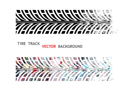 dirt bike: Vector, Colorful tire track on white background Illustration
