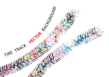 tire tracks: Vector, Colorful tire track on white background Illustration