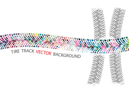 Vector, Colorful tire track on white background Vector