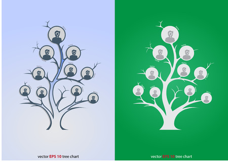 Glowing tree organizational Chart Infographic, Template, Business Structure Concept, Business Flowchart Work Process, Vector Illustration.