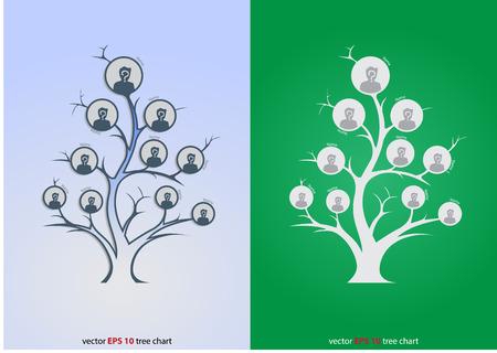 organizational chart: Glowing tree organizational Chart Infographic, Template, Business Structure Concept, Business Flowchart Work Process, Vector Illustration.
