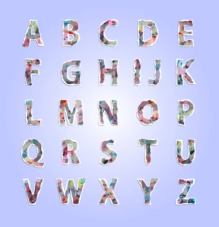 paper tear: Vector, colorful number and alphabet made from paper tear