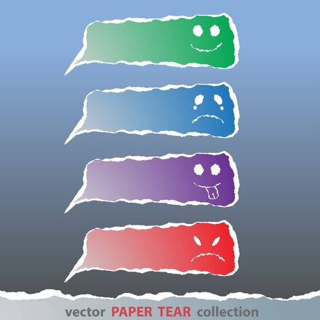 paper tear: Vector, colorful emotion face made from paper tear Illustration