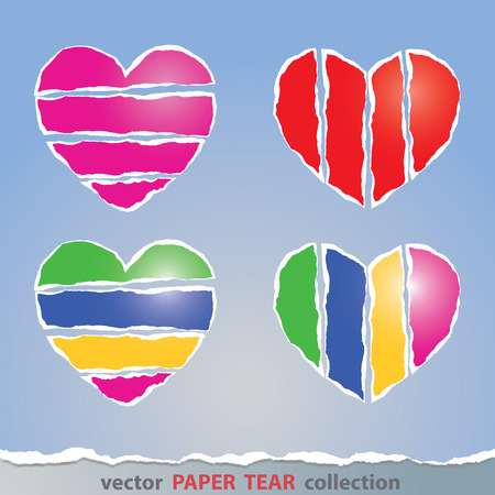 tear: Vector, Colorful heart sign made from paper tear