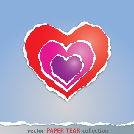 paper tear: Vector, Colorful heart sign made from paper tear