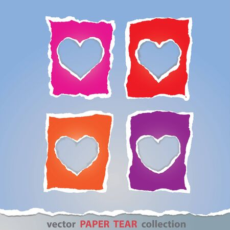 colorful heart: Vector, Colorful heart sign made from paper tear