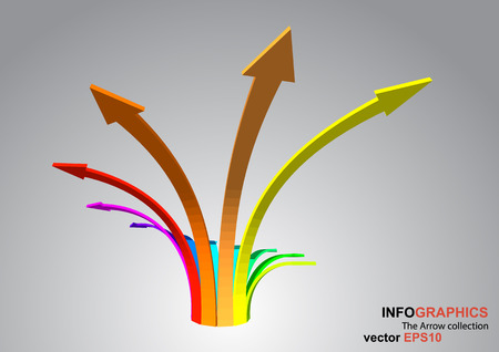 curve ahead sign: The 3D curved arrow which have spectrum color