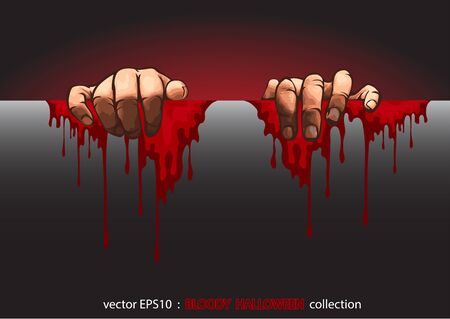 Vector EPS10, Halloween collection.  two hands and the blood Vector