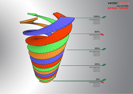 dimensions: The 3D dimensions spiral stair white spectrum color for EPS 10 vector infographics