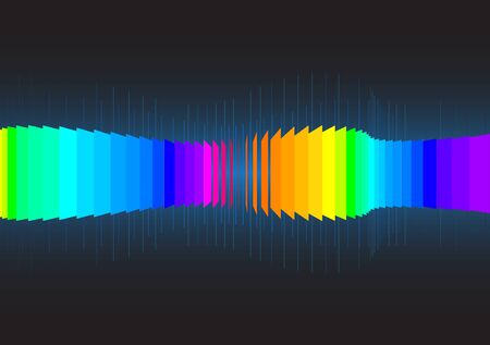 align: 3d vector sound wave made from a lot of planes align follow path Illustration