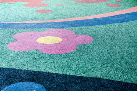 An image of colorful rubber floor in play ground