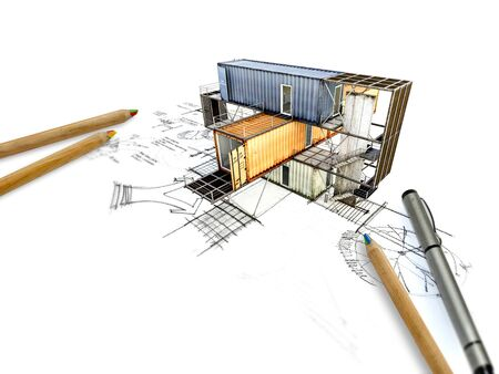 3ds: 3Ds building transform from hand sketch Stock Photo