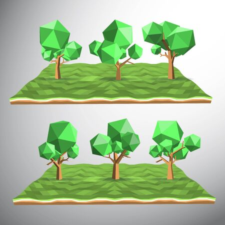 grasses: Vector 3ds low polygon tree on field