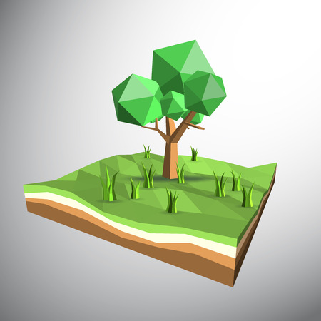 3ds: Vector 3ds low polygon tree and grasses on field Illustration