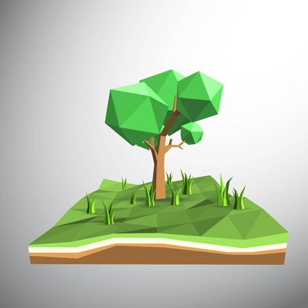 grasses: Vector 3ds low polygon tree and grasses on field Illustration