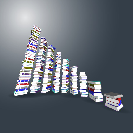 3ds: Vector, 3ds Colorful books tower and stair Illustration