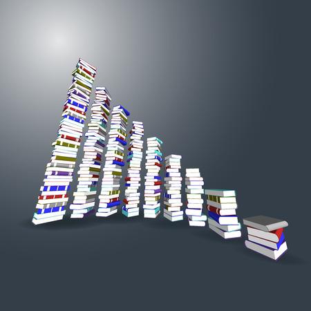 stair: Vector, 3ds torre de libros de colores y la escalera Vectores
