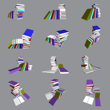 3ds: Vector, 3ds colorful books ain many view Illustration