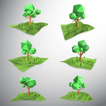 grasses: Vector, Low polygon 3D tree on land and grasses Illustration