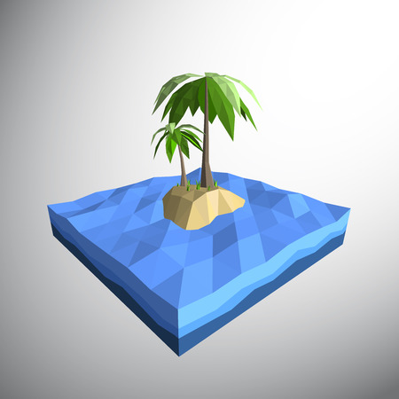 Vector, Low polygon 3D palm tree on lonely island in the ocean