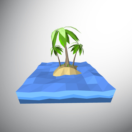 deserted: Vector, Low polygon 3D palm tree on lonely island in the ocean