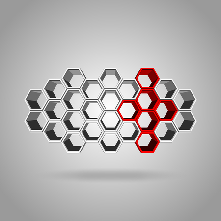 gree: Vector, 3Ds red, gree, and gray color hexagon block align to many shape, Blank block for add your text or wording