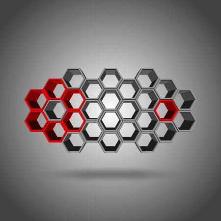 3ds: Vector, 3Ds red, gree, and gray color hexagon block align to many shape, Blank block for add your text or wording