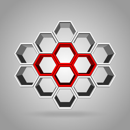align: Vector, 3Ds red, green, and gray color hexagon block align to many shape, Blank block for add your text or wording