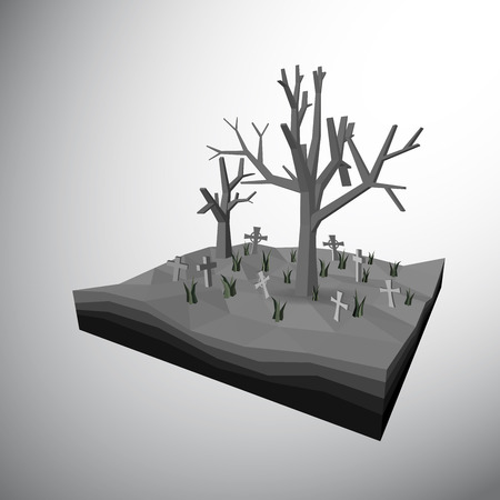 obituary: Vector, 3Ds low polygon tree and dead tree in grave yard which full fill by cross and grasses