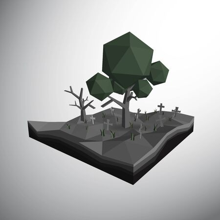 3ds: Vector, 3Ds low polygon tree and dead tree in grave yard which full fill by cross and grasses