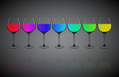 straight line: Vector, colorful water in 7 glass align to straight line , reflective shadow on floor