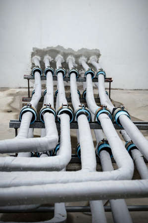 hot climate: An image of a lot of pipe for air conditioner system Stock Photo