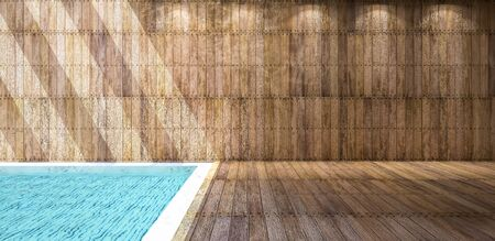 3ds: Illustration 3ds rendered, wooden wall and floor which have reflection from water in the pool on ceiling