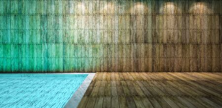 downlight: Illustration 3ds rendered, wooden wall and floor which have reflection from water in the pool on ceiling